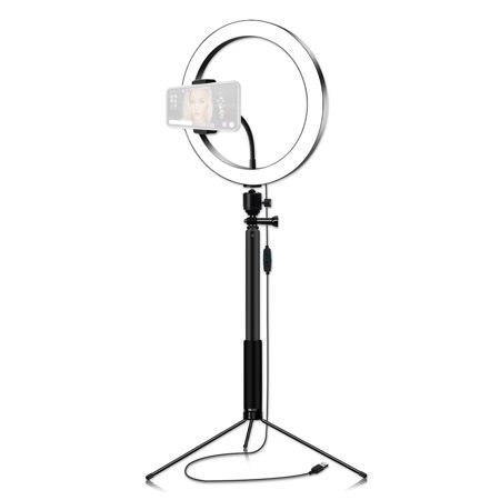 26cm/10 Inch 3200K-5600K Bi-color Dimmable Ring Video Light 12W with Black Selfie Stick Tabletop Tripod for Making-up Live Streaming Vlogging Self-portrait Photography - image 1 of 7