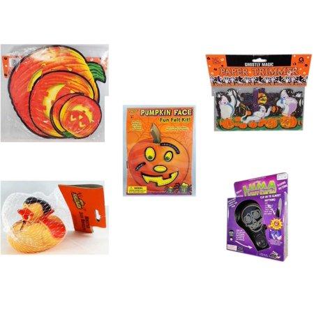 Happy Halloween Pumpkin Stencils (Halloween Fun Gift Bundle [5 Piece] - Classic Pumpkin Cutouts Set of 9 - Ghostly Magic Paper Trimmer 3.75 in x 9 ft. - Darice Pumpkin Face Fun Felt Kit)