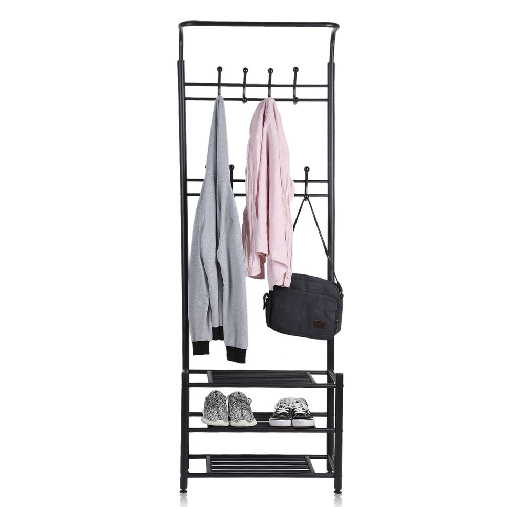 Multi-Purpose Entryway Shoes Storage Organizer Hall Tree Bench With Coat Rack Hooks Clothes Stand Perfect Home Furniture