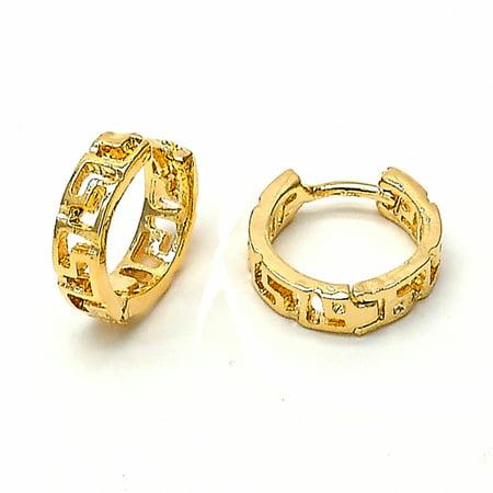 Gold-Tone Men or Woman  Oval Greek Key Design and Polished Finish Huggie Hoop Earrings (14mm x 5mm)