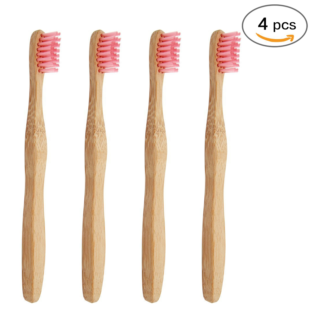 Genkent 4 Pcs Bamboo Toothbrush for Kids,Natural &Eco Friendly Pink