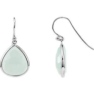 Rhodium-Plated Sterling Silver Aqua Blue Chalcedony Earrings by