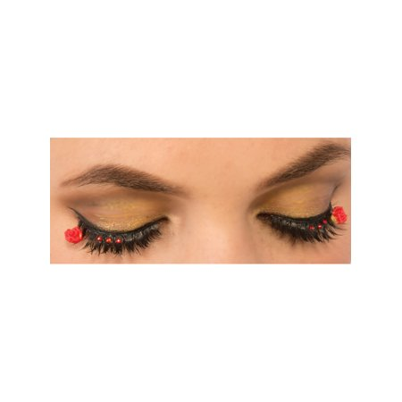 Womens  Day Of The Dead Red Rose Fake Eyelashes Set Costume Accessory