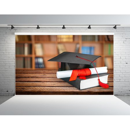 Preschool Graduation Backdrops (GreenDecor Polyester Fabric 7x5ft Student Backdrops Graduation Cap School Photo Booth)