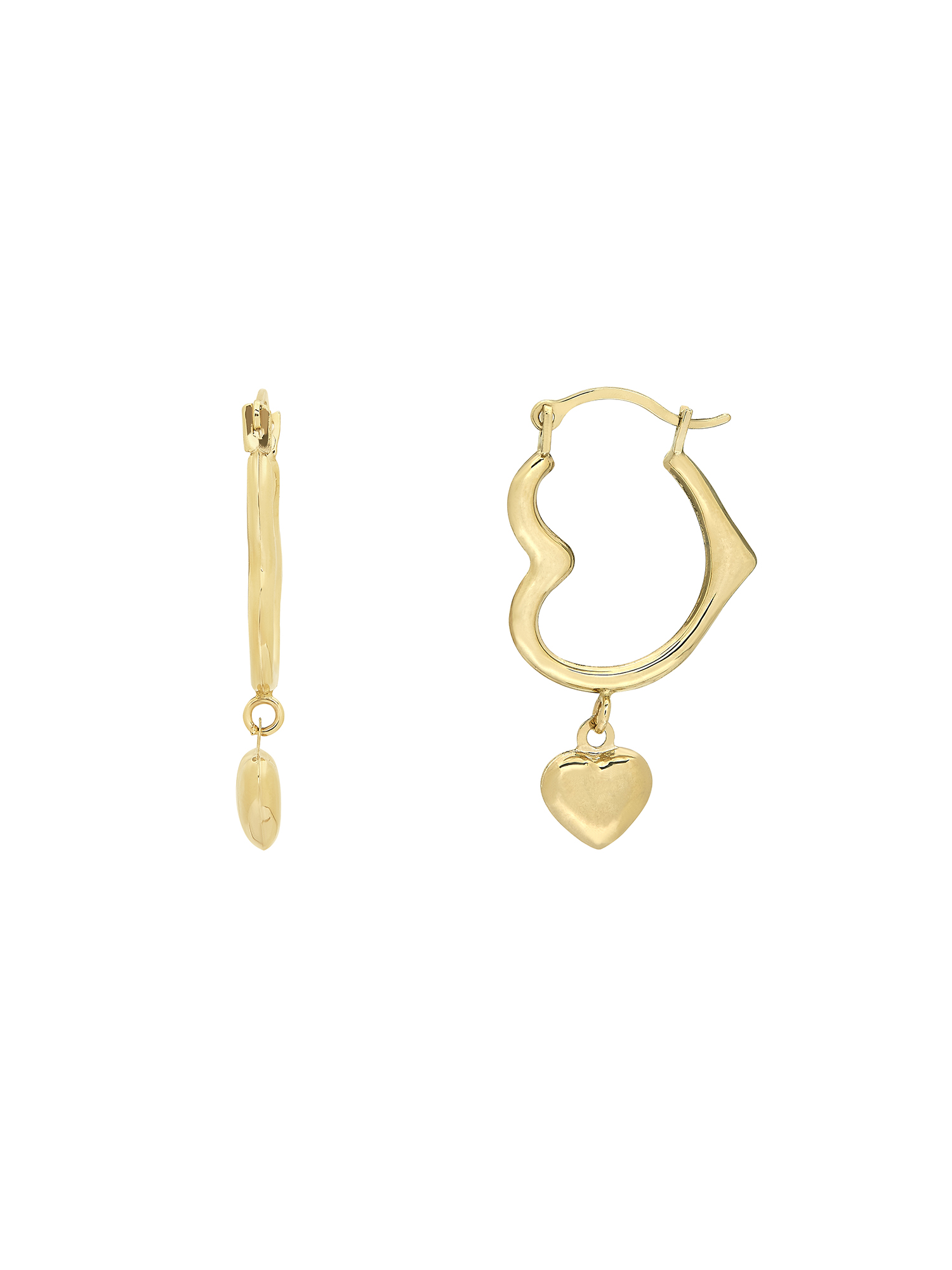 Simply Gold™ 10KY Polished Heart Hoop Earring w/Heart Dangle