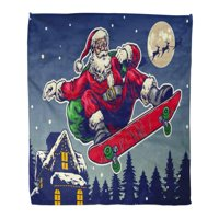 ASHLEIGH Flannel Throw Blanket Character Santa Claus Ride Skateboard in Vintage Christmas Celebration Soft for Bed Sofa and Couch 58x80 Inches