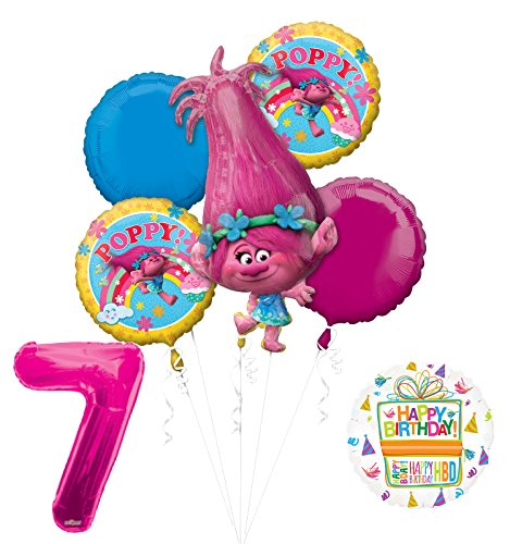 NEW TROLLS POPPY 7th Birthday Party Supplies And Balloon Bouquet Decorations