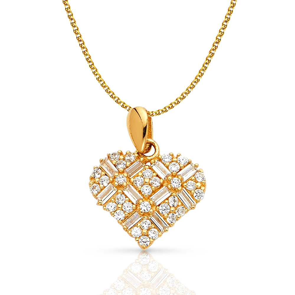14K Yellow Gold Cubic Zirconia CZ I Love You Heart Charm Pendant with 1.2mm Flat Open Wheat Chain Necklace