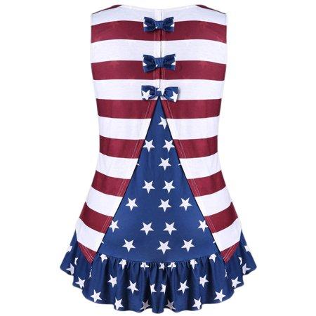 Fashion Womens Plus Size American Flag Print Ruffles Bowknot Patriotic Tank (American Flag Fashion)