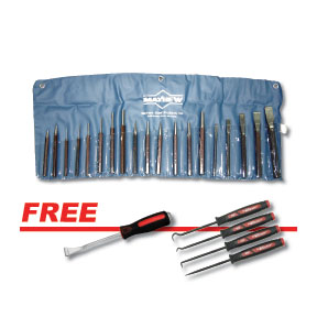 Mayhew Tools MAY-61020SP 20 Pc. Punch & Chisel Kit W/free Belt/molding Remover & 4 Pc. Mini Hook And Pick Set