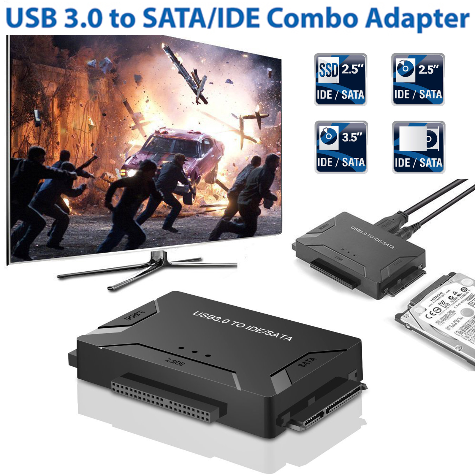 "USB 3.0 to IDE / SATA Converter Hard Drive Adapter with Power Switch for 2.5""/3.5""SATA HDD/SSD & IDE HDD Drives Optical Drive, Support 5TB"