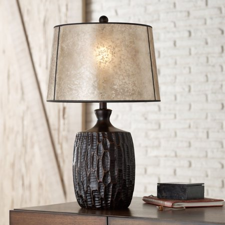Franklin Iron Works Rustic Table Lamp Brown Mica Drum Shade for Living Room Family Bedroom Bedside Nightstand Office ()