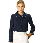 Women's Peter Pan Collar Sweet Ruffle Long Sleeves Shirt L NavyBlue