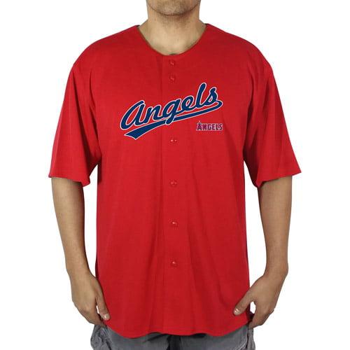MLB LA (Anaheim) Angels Men's Poly Button Down Jersey