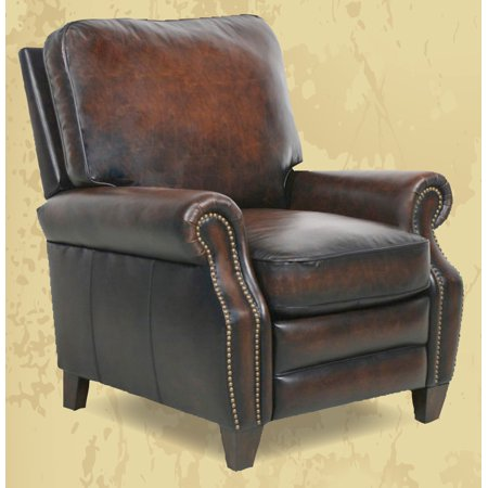 Top Grain Leather Chair (Barcalounger Briarwood II Leather Manual Recliner Stetson Coffee Top Grain Leather Chair with Espresso Wood Legs 7-4490 5407-41 - In-Home White Glove Delivery and)