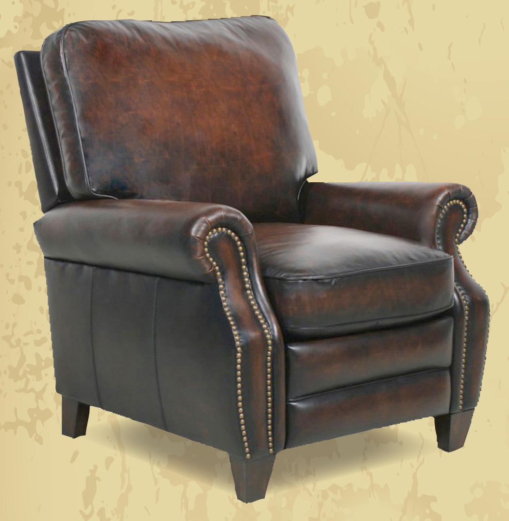 Barcalounger Briarwood II Leather Manual Recliner Stetson Coffee Top Grain Leather Chair with Espresso Wood Legs 7-4490  5407-41 - Standard Ground Curbside Delivery