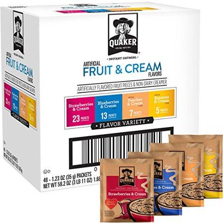 Quaker Instant Oatmeal, Fruit & Cream Variety Pack, 48 (Jasmine Oatmeal)