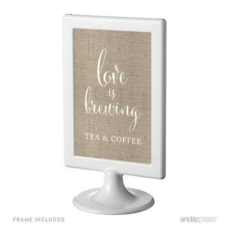 Tea & Coffee Love Is Brewing Framed Burlap Wedding Party - Tea Party Wedding