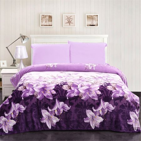 All Seasons Flannel Fleece Blanket Lightweight Soft Purple Floral Printed For Queen Bed 90