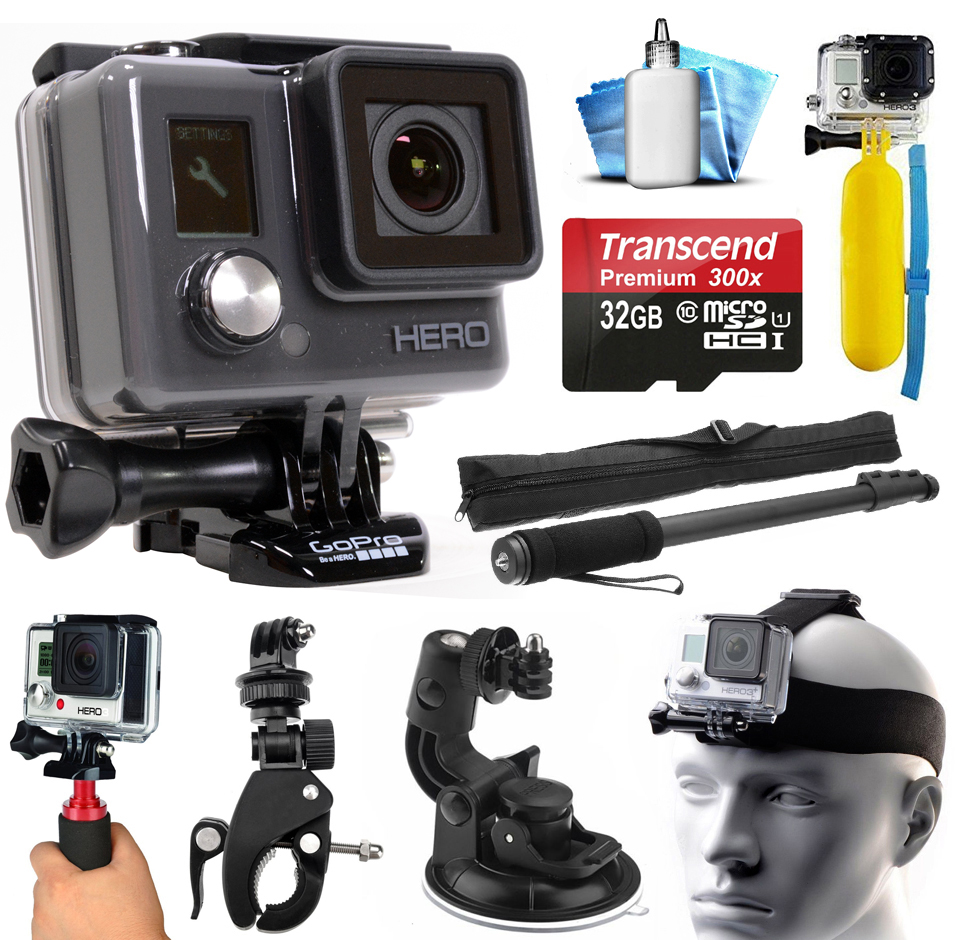 GoPro HD HERO Waterproof Action Camera Camcorder with 32GB Deluxe Accessories Bundle includes microSD Card + Floating Bobber + Selfie Stick + Stabilizer Holder + Car Windshield Suction Cup (CHDHA-301) GOPROACTIONHEROK1