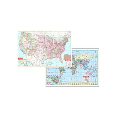 Universal Map Us   World Physical Map Set 50X32  Set Of 2