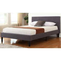Mobilis Deluxe Grey Linen Upholstered Platform Bed with Wooden Slats, TWIN