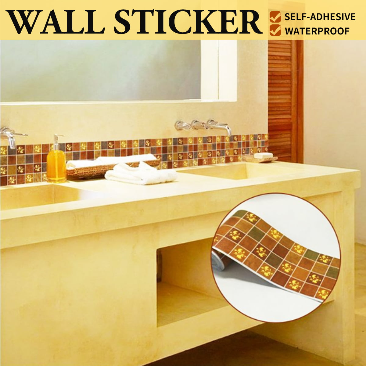 Peel And Stick Wallpaper In Bathroom: 3D Self Adhesive Waterproof Wallpaper Border Peel And