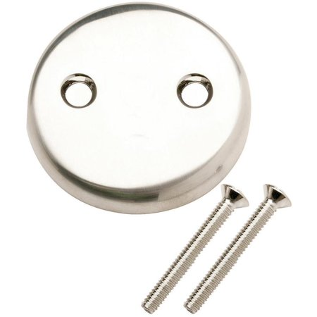 Plumb Pak PP826-11BN 2-Hole Blank Overflow Face Plate With Screw, For Use With Bath Drain, Brushed N