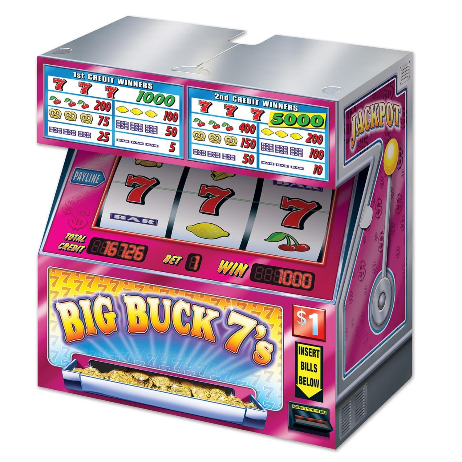 """Pack of 6 Big Buck 7's Tabletop Slot Machine Decorations 19"""""""
