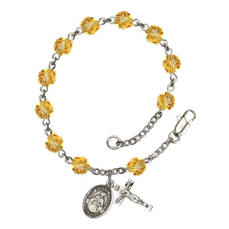 St. Gabriel Possenti Silver Plate Rosary Bracelet 6mm November Yellow Fire Polished Beads Crucifix Size 5/8 x 1/4 medal charm