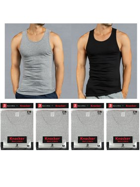 2735f1f4acde5a Product Image 12 X Mens Tank Tops 100% Cotton A-Shirt Ribbed Pack  Undershirt Black Gray