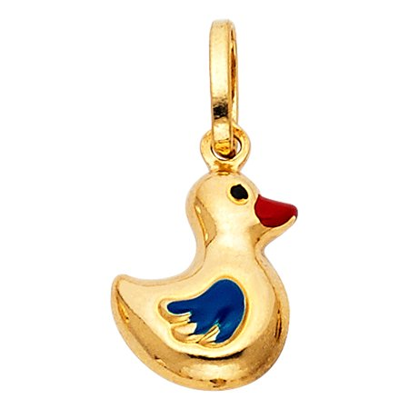 14K Yellow Gold Floating Duck Colored Enamel Charm Pendant For Necklace or Chain
