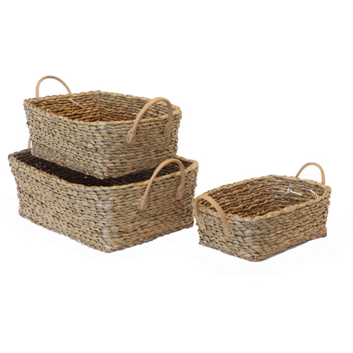 Baum Twisted Rush Storage Baskets, Set of 3, Natural