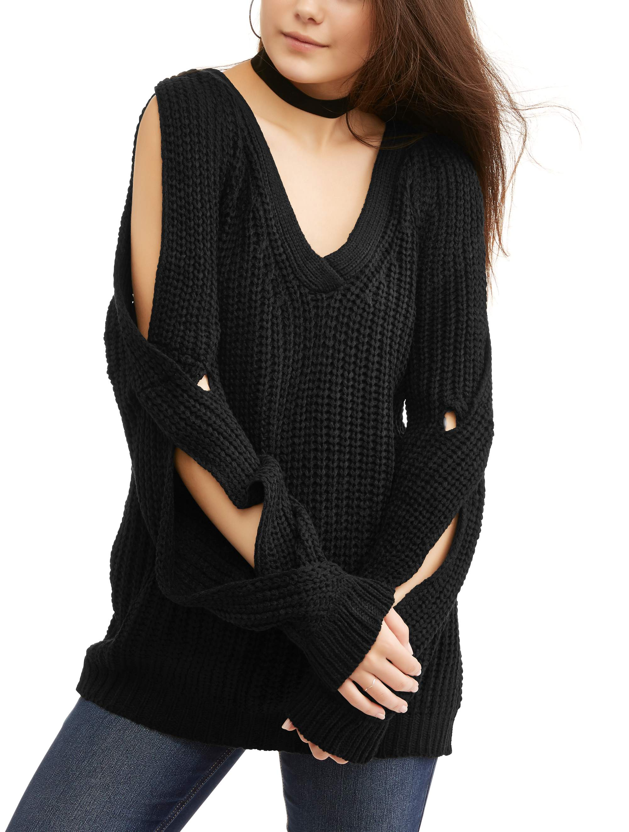 Poof! Juniors' Chunky Rib Knit Cut-Out Tunic Sweater by Generic