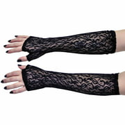 Black Elbow Lace Fingerless Gloves Adult Halloween Accessory