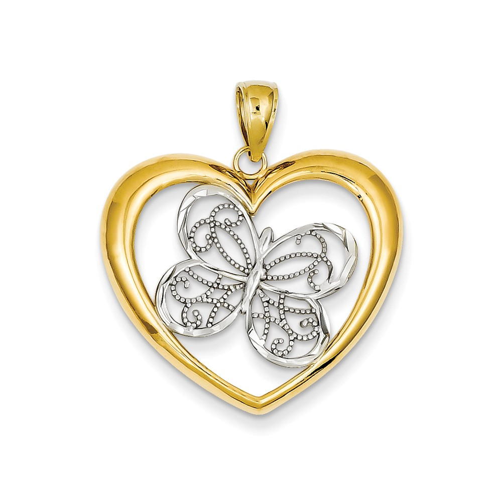 14K Yellow Gold and Rhodium Butterfly in Heart Pendant