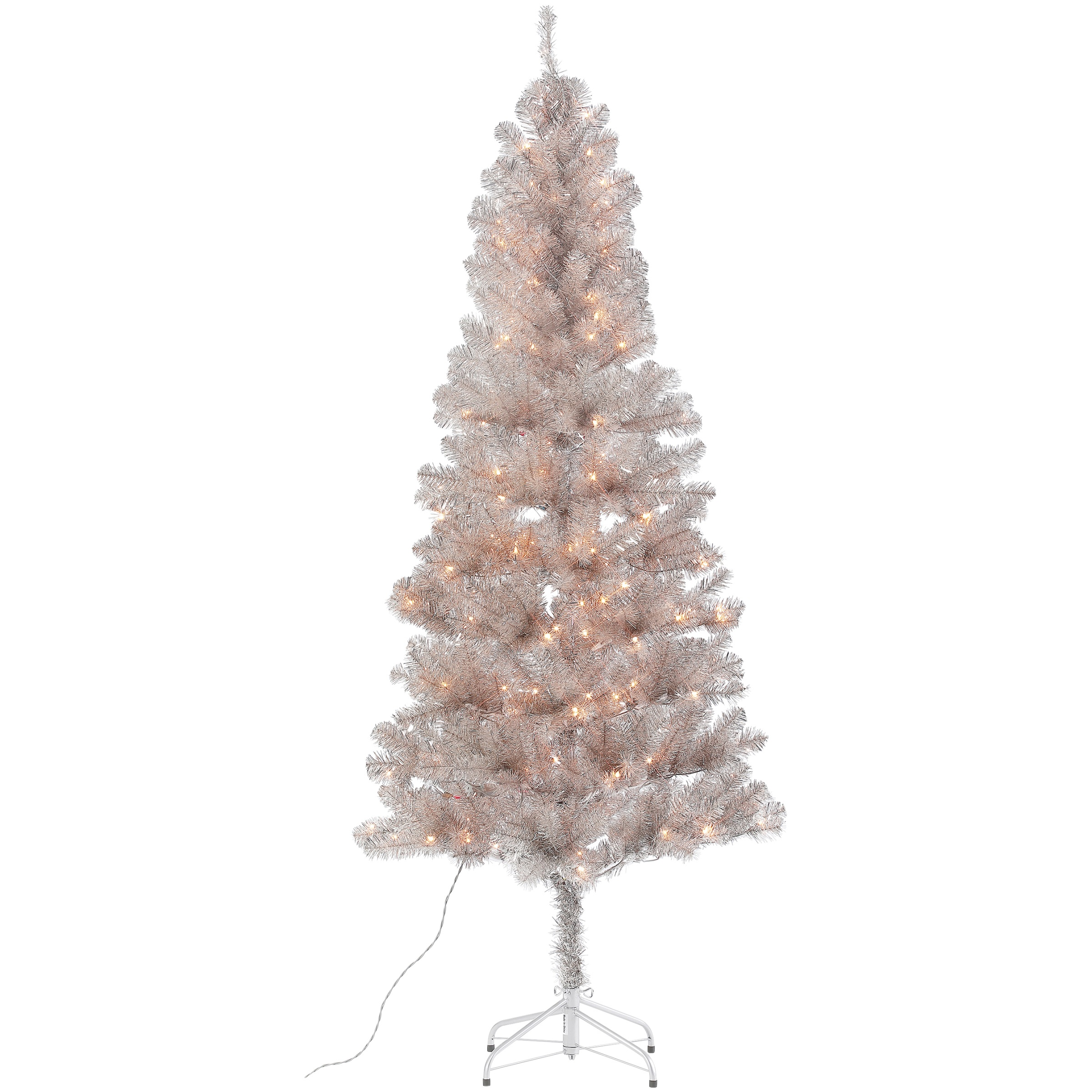 Holiday Time 6.5 ft. Tinsel Rose Gold Tree 200 Lights with ...