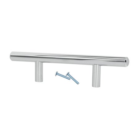 20 Pack Rok Hardware 3' Hole Centers Chrome Kitchen Cabinet Euro Style Drawer Door Steel T Bar Pull Handle Pull 6' (3 3 8 Center To Center Drawer Pulls)