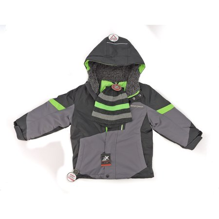 Kids Faux Fur Jacket - ZEROXPOSURE Snow Jacket Kids Faux Fur REVSBLE (Iron, 7/8)