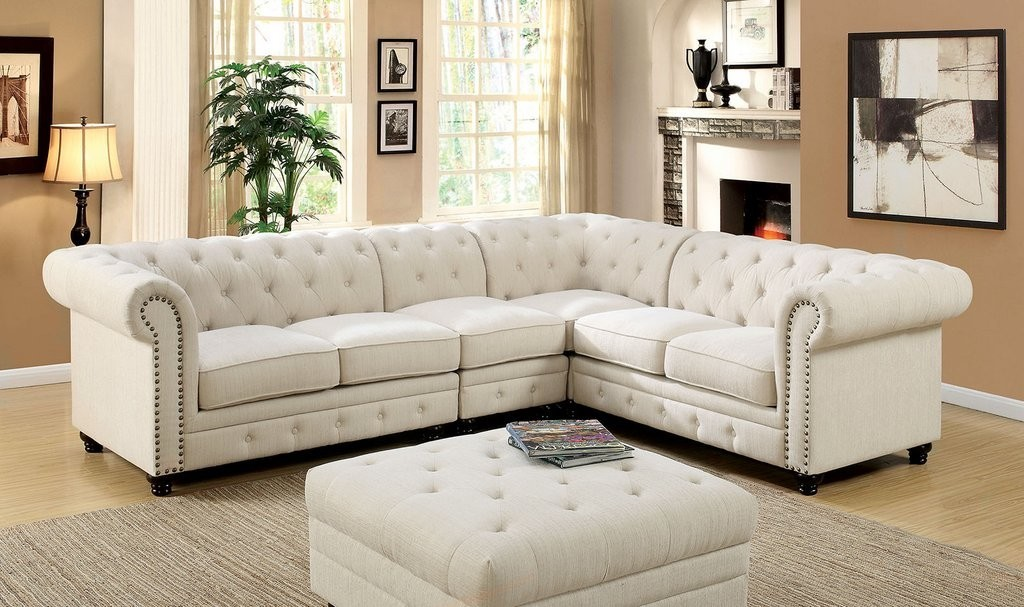 Exceptionnel Contemporary Sectional Sectionals Ivory Loveseat Wedge Corner Gorgeous  Tufted Linen Like Fabric Sectional Sofa