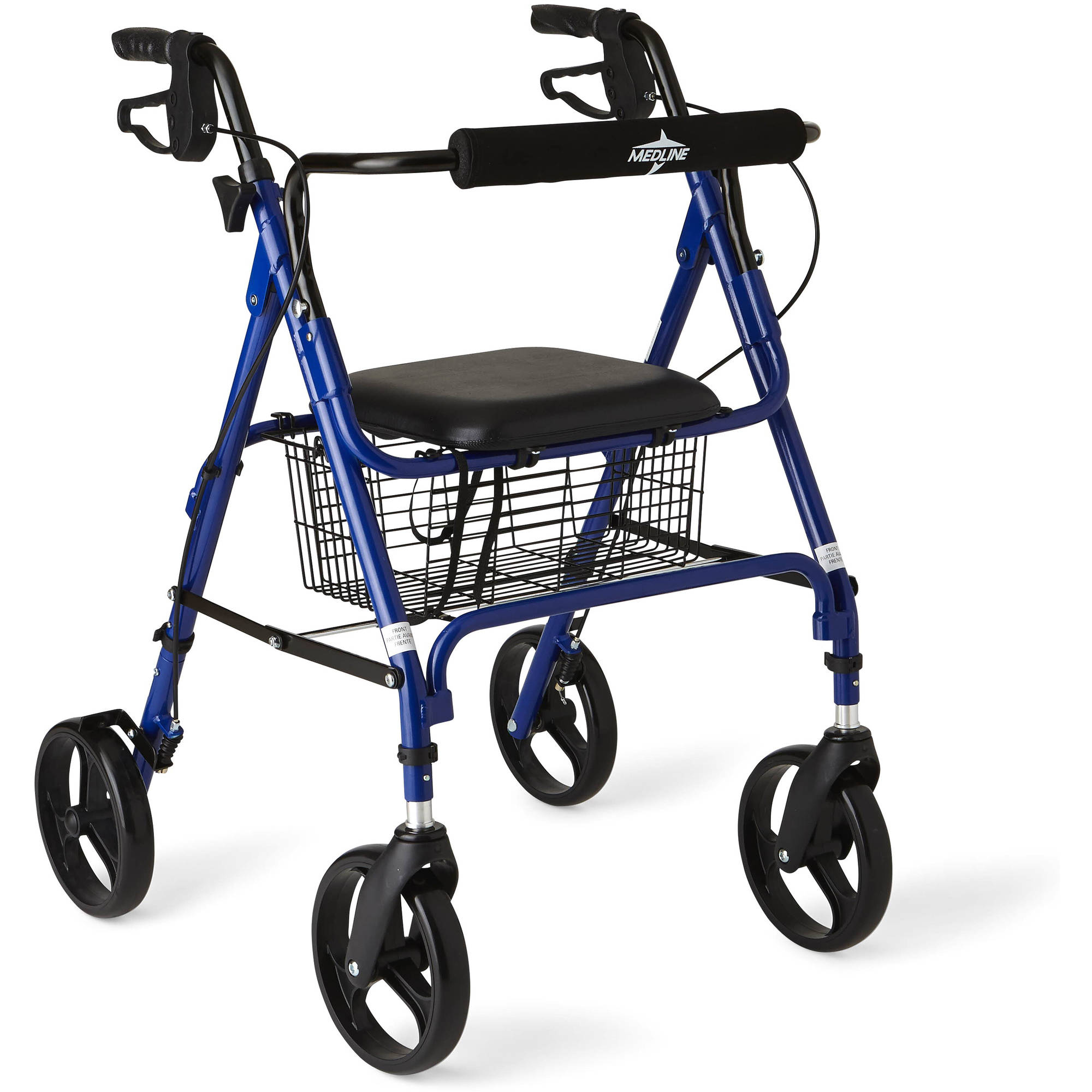 "Medline Deluxe Foldable Rollator Walker with 8"" Wheels, Blue"