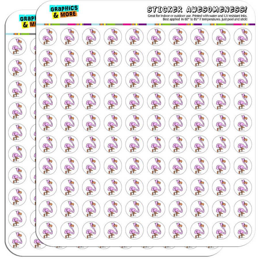 "Pink Flamingo 200 1/2"" (0.5"") Planner Calendar Scrapbooking Crafting Stickers"