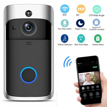 Smart Video Wireless WiFi Doorbell, Security Camera Real-Time Two-Way Audio Night Vision PIR Motion Detection App Control for IOS and Android