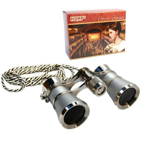 3 x 25 Opera Glasses Binocular Platinum Pearl w/ Crystal Clear Optic (CCO) with Silver Necklace Chain