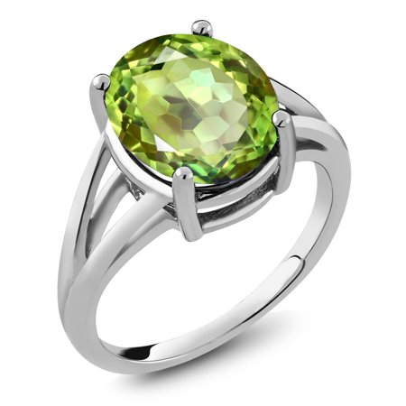Oval Green Quartz Ring - 0.90 Ct Oval Green Apple Mystic Quartz 925 Sterling Silver Ring