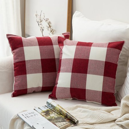 Tayyakoushi Classic Retro Farmhouse Buffalo Tartan Checkers Plaid Cotton Linen Decorative Throw Pillow Case Cushion Cover Pillowcase for Sofa 18 x 18 Inch, Set of 2, Red