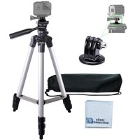"""50"""" inch aluminum camera tripod with built in bubble leveler goes for all gopro hero cameras + ecostconnection microfiber cloth"""