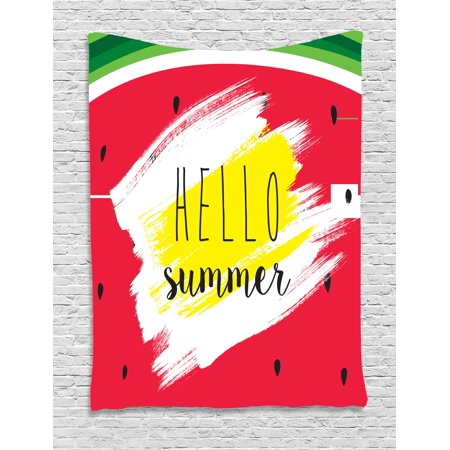 Hello Tapestry, Artistic Watermelon Background with Brushstrokes and a Script for Joyful Summertime, Wall Hanging for Bedroom Living Room Dorm Decor, 40W X 60L Inches, Multicolor, by Ambesonne (Watermelon Pulp)