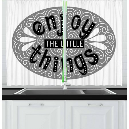 Enjoy the Little Things Curtains 2 Panels Set, Greyscale Expression Lettering with Swirls and Teardrops, Window Drapes for Living Room Bedroom, 55W X 39L Inches, Grey Black and White, by Ambesonne