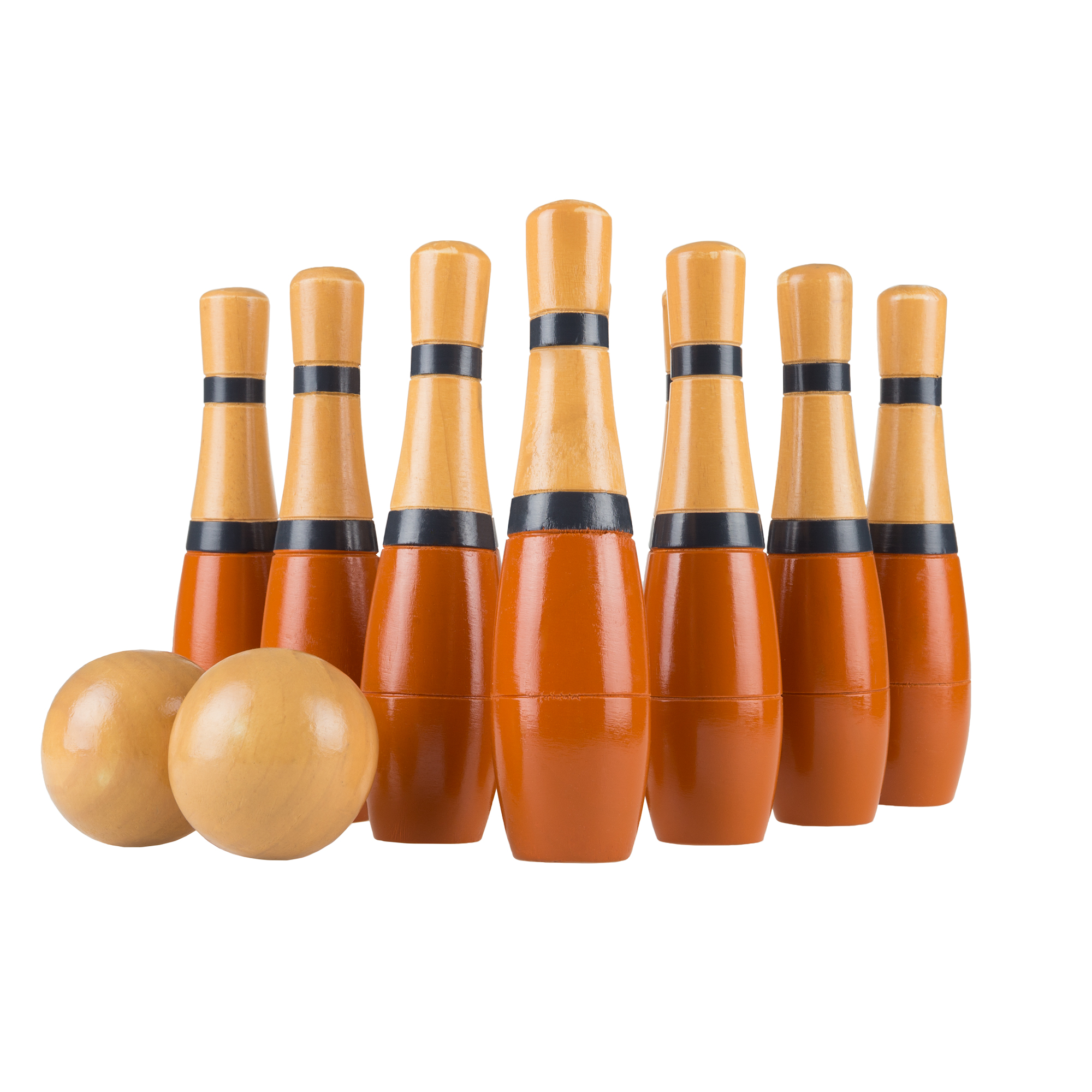 Lawn Bowling Game/Skittle Ball- Indoor/Outdoor Fun for Kids, Adults – 10 Wooden Pins, 2 Balls, and Mesh Bag Set by Hey! Play! (8 Inch -Purple/Yellow)